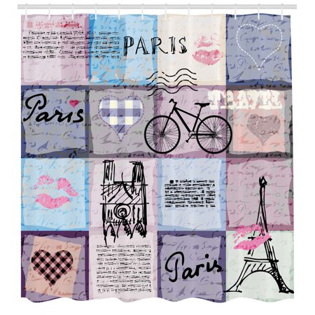 Paris Shower Curtain, Grunge Textured Retro Collage of Paris with Famous Object Eiffel Tower Europe Theme, Fabric Bathroom Set with Hooks, Multicolor, by Ambesonne Eiffel Tower Fabric