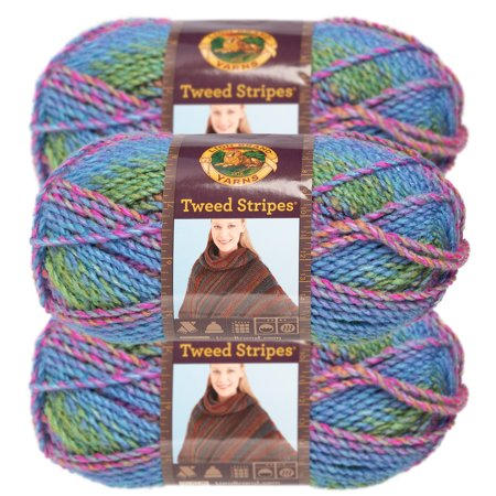 - Lion Brand Yarn (3 Pack) Tweed Stripes Chunky Yarn Acrylic 100 Percent Soft Yarn For Knitting Crocheting Bulky #5