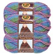 Lion Brand Yarn (3 Pack) Tweed Stripes Chunky Yarn Acrylic 100 Percent Soft Yarn For Knitting Crocheting Bulky #5