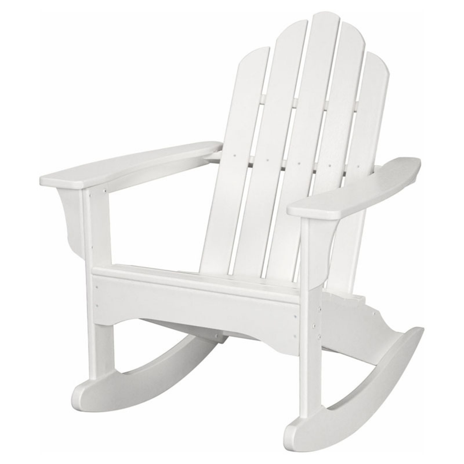 Hanover Outdoor Furniture All-Weather Contoured Adirondack Rocking Chair, White