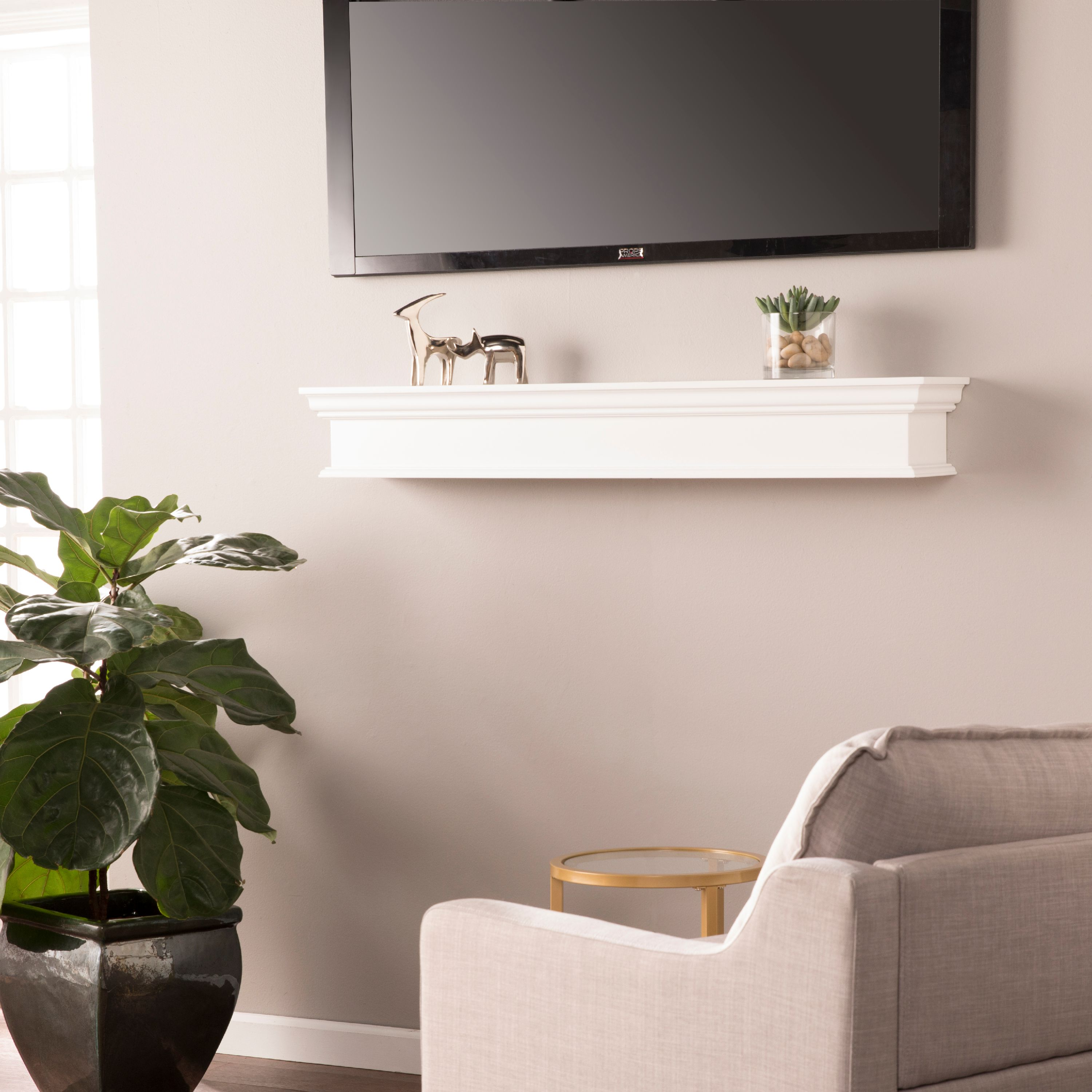 Southern Enterprises Arriflair Floating Mantel/Wall Shelf, Traditional Style, White