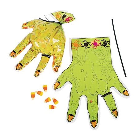 Fun Express - Monster Hand Shaped Plastic Goody Bag for Halloween - Party Supplies - Bags - Plastic Bags - Halloween - 12 Pieces](Halloween Goodies To Ship)