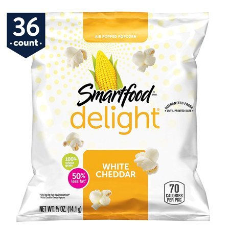 Smartfood Delight Popcorn Snack Pack, White Cheddar, 0.5 oz Bags, 36 Count - White Popcorn Bags
