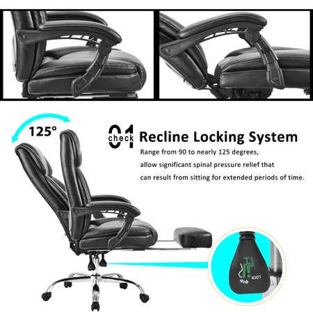 High Back Office Chair, SEGMART 25.6'' x 25.6''x 51'' PU Leather High Back Office Chair Desk Gaming Chair, Ergonomic Racing Chair, Swivel Executive Computer Chair with Headrest, 250lbs, S4899