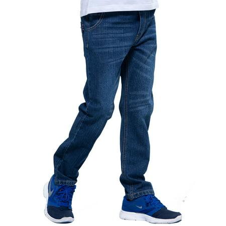 Leo&Lily Boys' Kids' Elastic Waist Regular Fit Stretch Denim Jeans blue ()