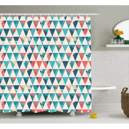Geometric Shower Curtain Abstract Triangles Hexagons Soft Colors Modern Artwork Cubism Inspired Fabric Bathroom
