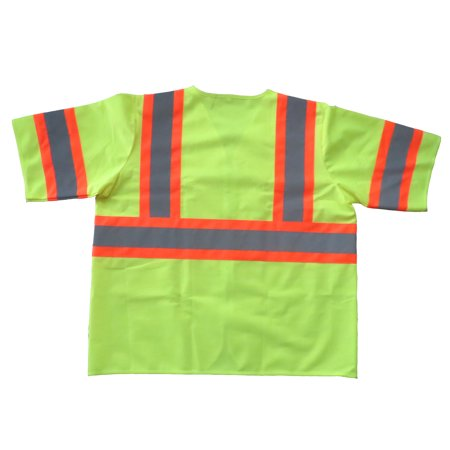 Shield Safety Fluorescent Yellow Polyester Fabric Safety Vest Large - Class III Silver Reflective Tape with Orange Trim, 50 Pieces