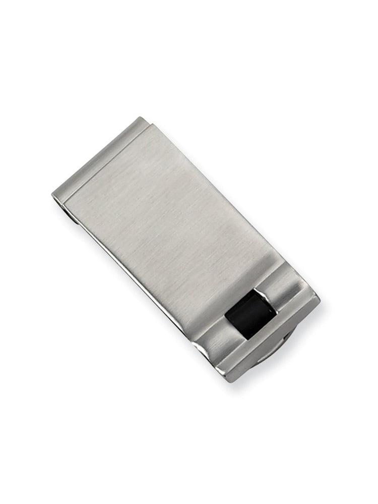 12mm x 50mm Jewel Tie Stainless Steel Polished Enameled Fleur de Lis Money Clip