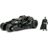 DC Comics '08 THE DARK KNIGHT BATMOBILE W/ BATMAN figures; 1:24 ScaleMetals Die-Cast Collectible Vehicle