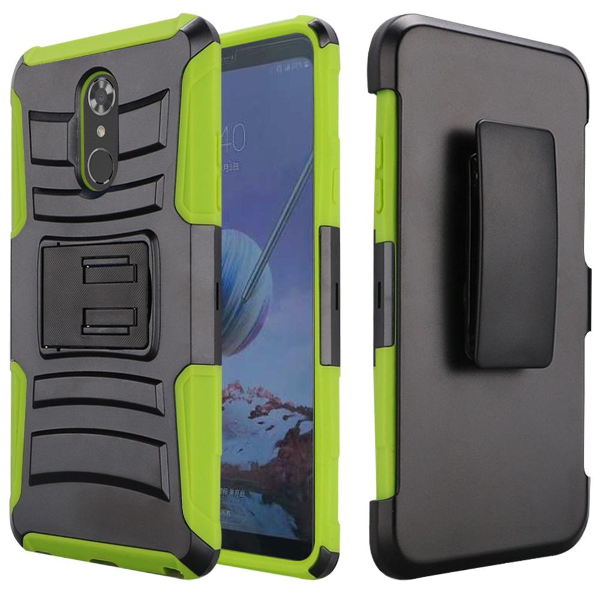 LG  Stylo 4 Stylo 4 plus Case, by HR Wireless Hard Hybrid Plastic Cover Case w/stand/Holster For LG  Stylo 4 Stylo 4 plus - Black/Light Green