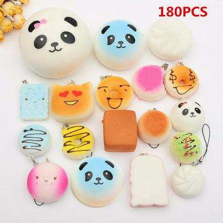 Panda Ornament (18Pcs/set Squishy Toys Jumbo Bread Bun Panda Mini phonestrap Soft Key Chain Mobile Phone Strap Pendent Ornament Christmas Birthday)