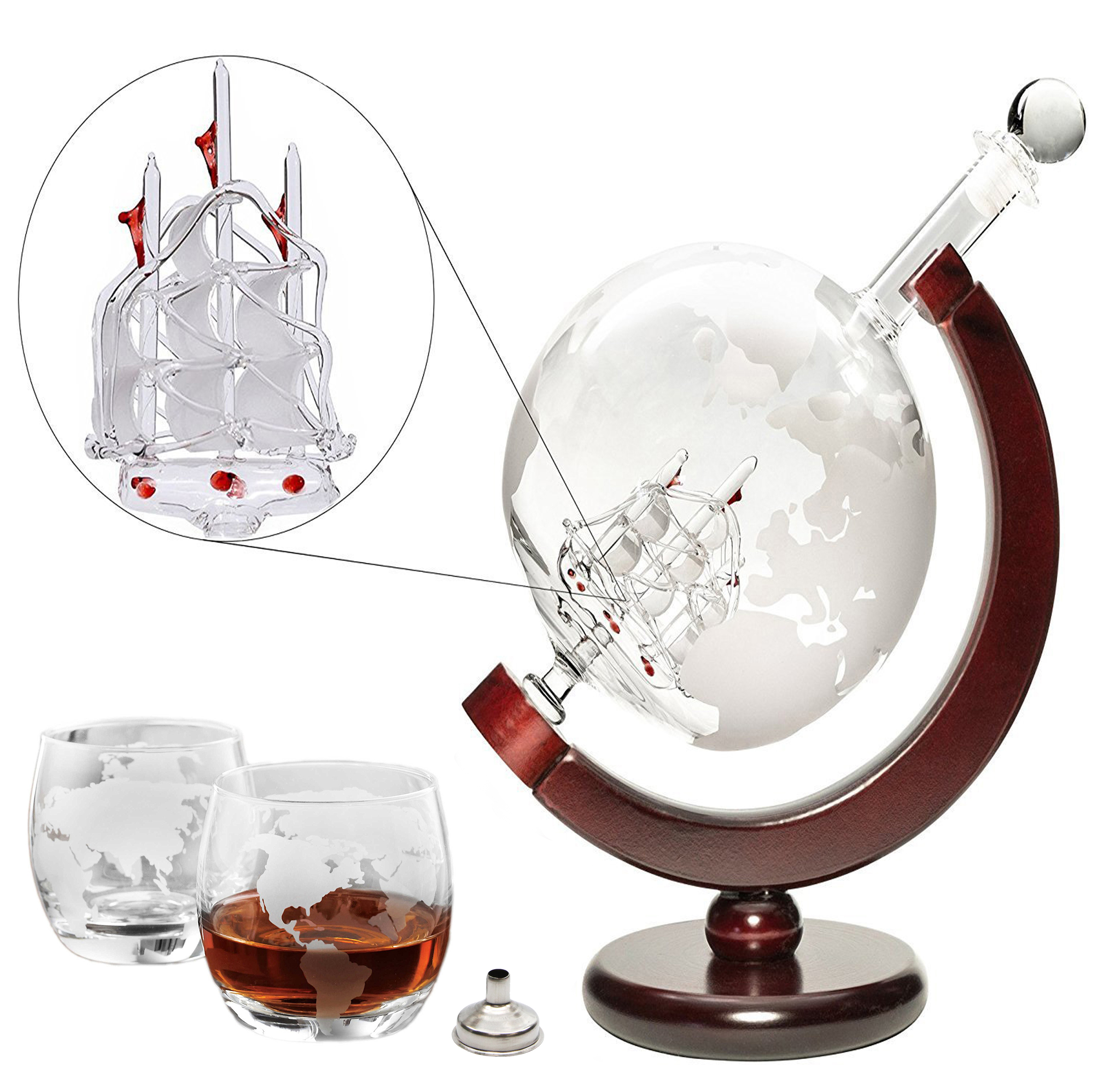 Denizli Spirits 35-oz Etched Globe Decanter and Glasses Set with Wooden Stand
