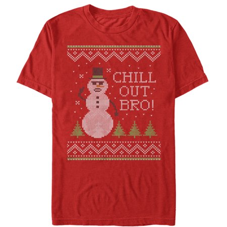Men's Ugly Christmas Sweater Chill Out Snowman T-Shirt - Snowman Cut Out