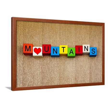Mountains Sign Series For Mountain Ranges Climbing Travel Framed Print Wall Art By Edsamuel