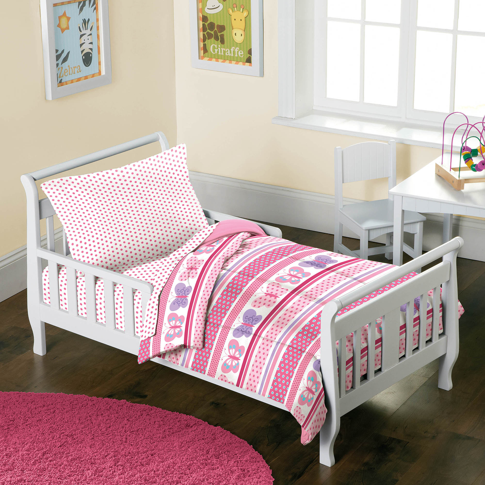 Dream Factory Butterfly Dots 4 Piece Toddler Mini Bed In A Bag Bedding Set    Walmart.com