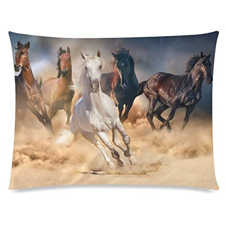ZKGK Unique Running Horse Home Decor, Horse Herd Run in Desert Sand Storm Pillowcase 20 x 30 Inches Two Side,Animal Theme Pillow Cover Case Shams Decorative - Desert Theme