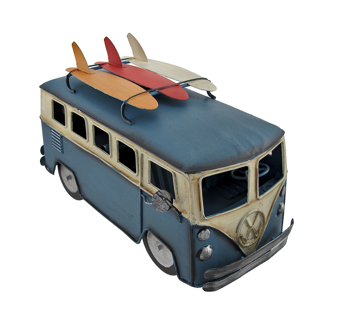 Blue and White 60s Style Beach Bus with Surfboard Rack