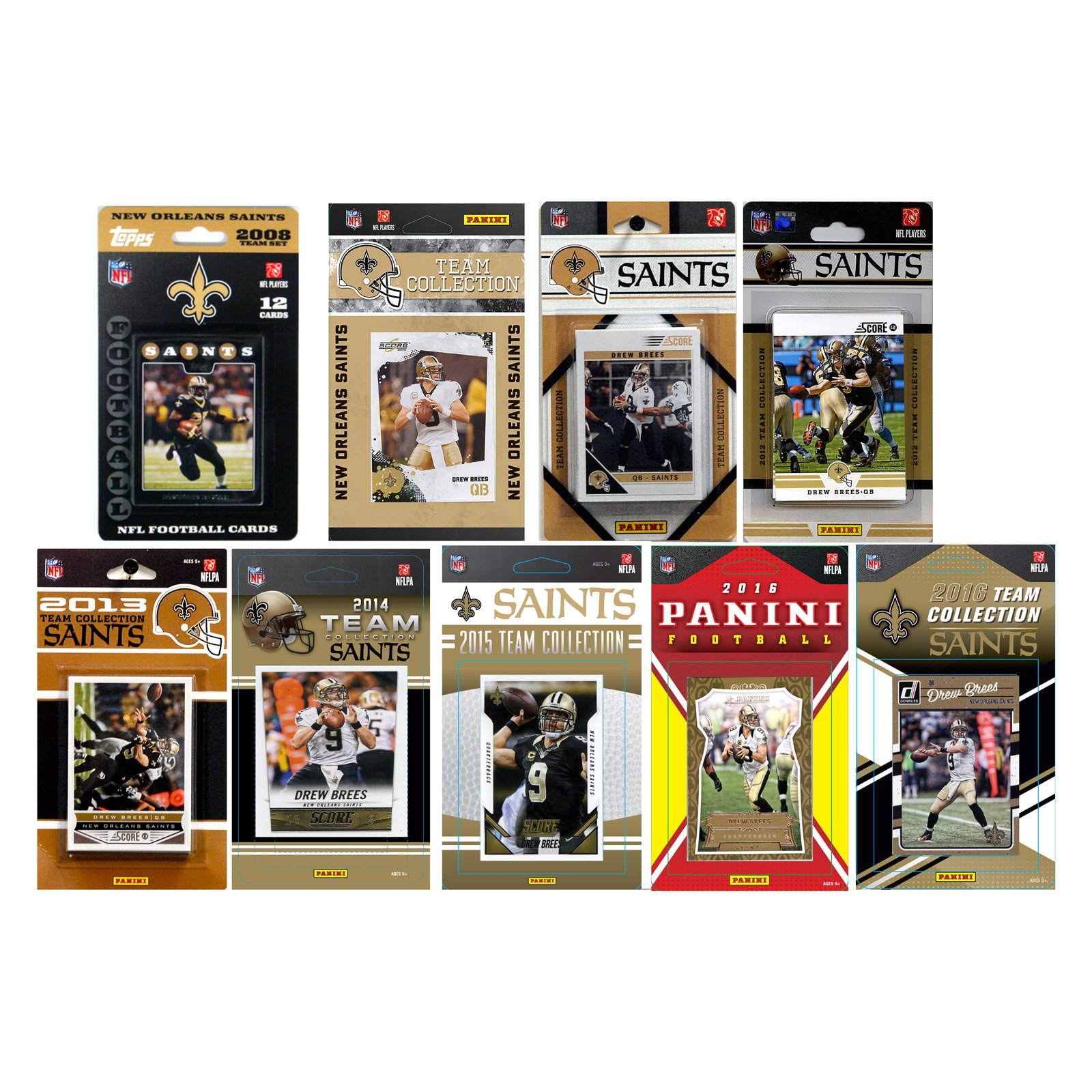 C & I Collectables NFL New Orleans Saints 9 Different Licensed Trading Card Team sets