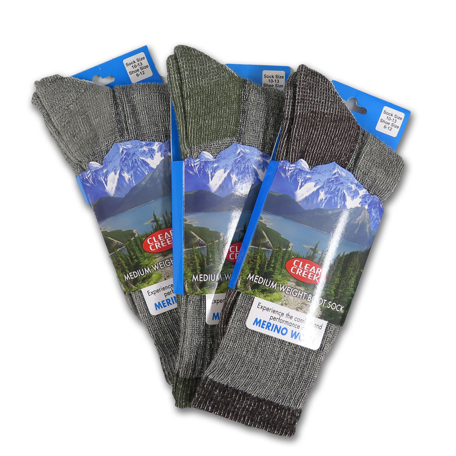 Clear Creek Men's Merino Wool Medium Weight Lined Boot Socks, 3 Pairs