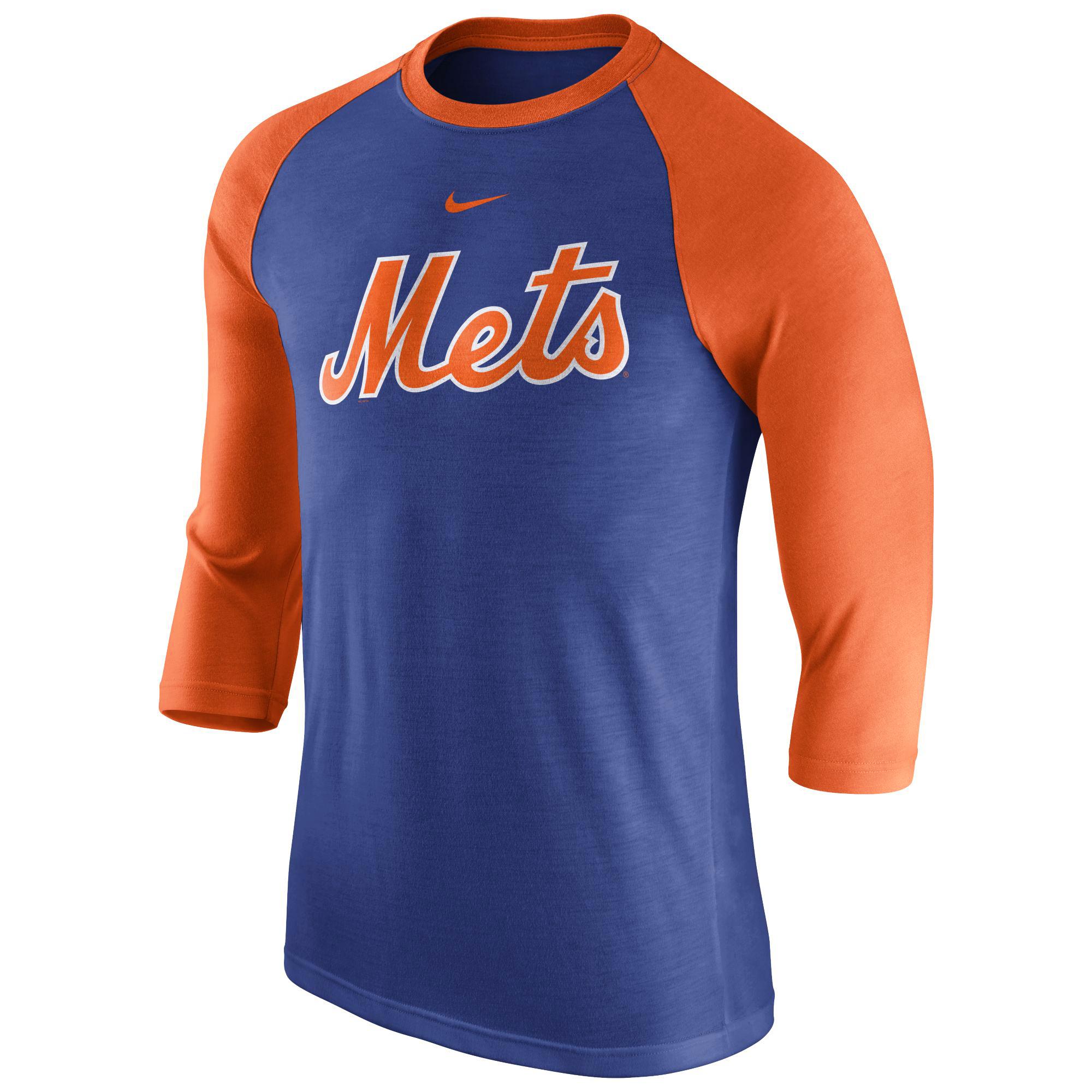 Men's Nike Royal New York Mets Wordmark Three-Quarter Sleeve Tri-Blend Raglan T-Shirt