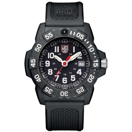 Luminox Men's Navy Seal XS.3501 Black Silicone Swiss Quartz Diving Watch