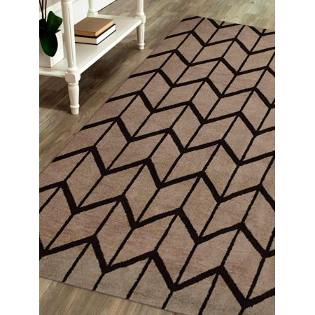 Rugsotic Carpets Hand Knotted Wool 5'x8' Area Rug Geometric Beige Brown N01052