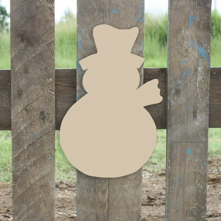 Snowman with Scarf Unfinished Cutout, Wooden Shape, Paintable Wooden