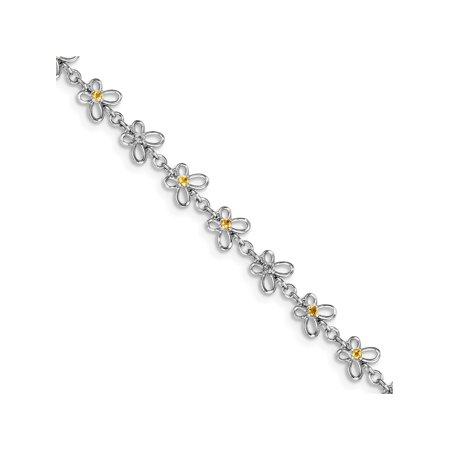 925 rhodi? argent sterling Citrine et diamants Bracelet - image 2 de 2