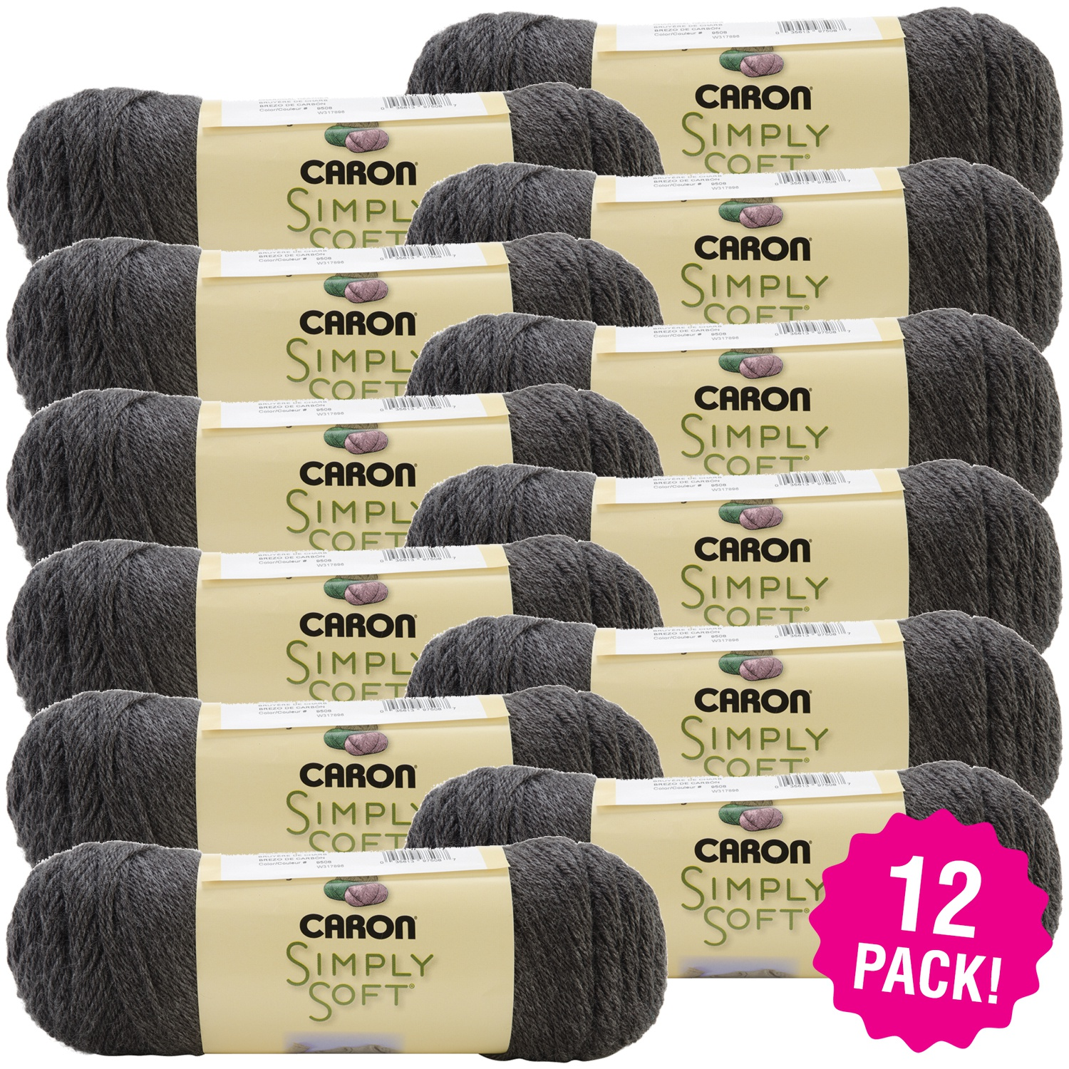 Caron Simply Soft Heather Yarn - Charcoal, Multipack of 12