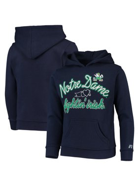 Girls Youth Russell Athletic Heathered Navy Notre Dame Fighting Irish Classic Fleece Pullover Hoodie
