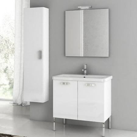 ACF by Nameeks ACF CP07-GW City Play 29-in. Single Bathroom Vanity Set - Glossy White