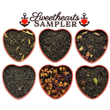 Sweetheart Loose Leaf Tea Sampler Assortment in Red Heart Tins w/ 6 Varieties of Tea Including Masala Chai, Vanilla Black Tea, Passion Peach Tea, Rose, Raspberry &
