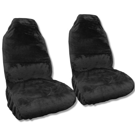Synth Sheepskin Seat Cover Pair BLACK PLUSH Fleece For Hyundai Elantra ()