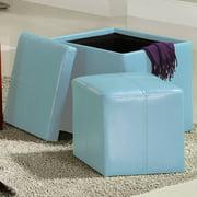 Tribecca Home Swayne Blue Storage Ottoman with Mini Foot Stool by