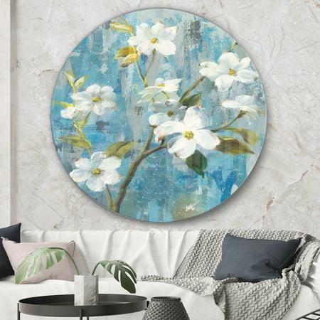 DESIGN ART Designart 'Pastel Magnolia I' Traditional Metal Circle Wall (Metal Magnolia)