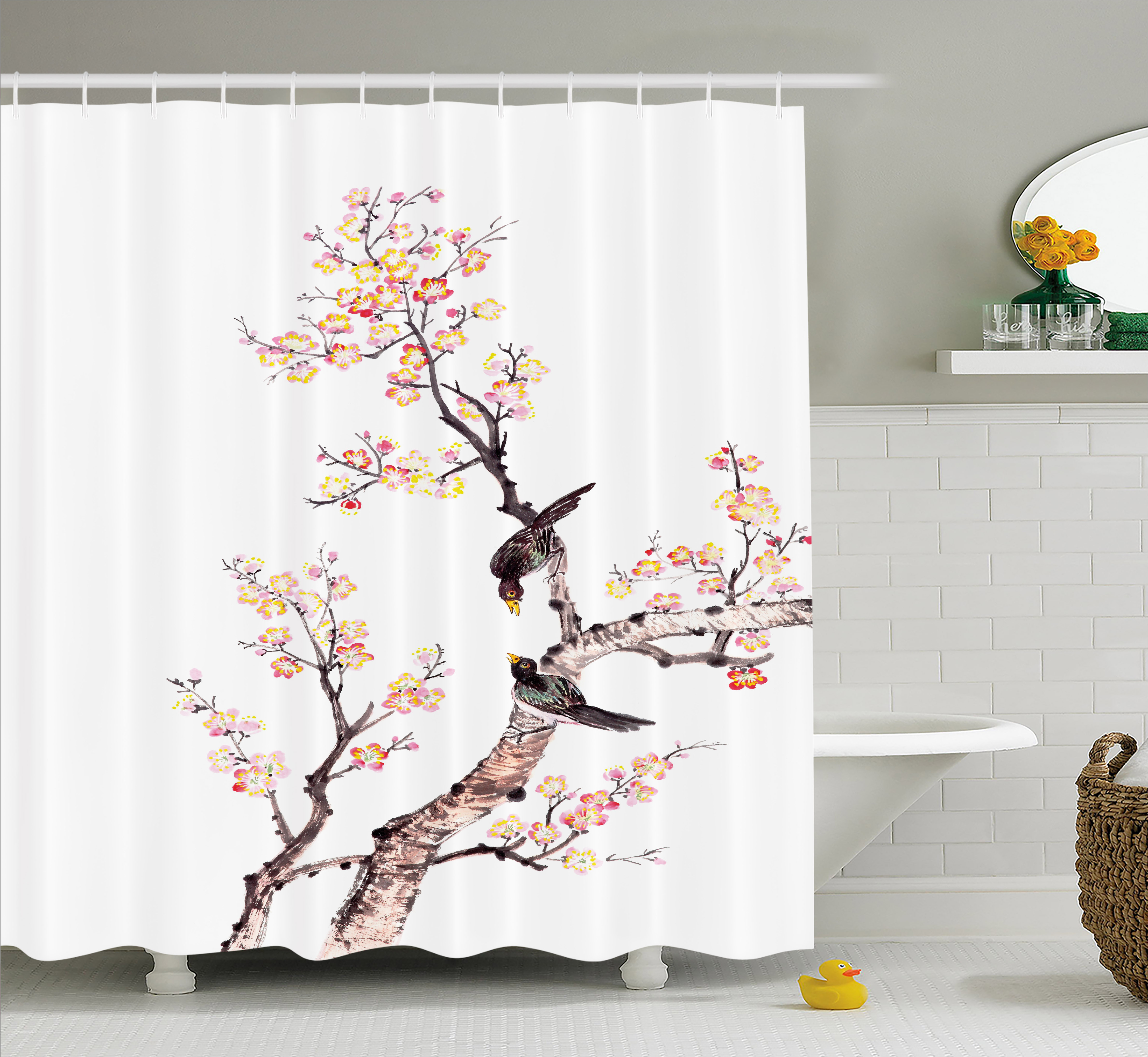 Art Shower Curtain, Traditional Chinese Paint of Flowers ...
