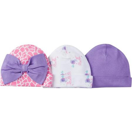 Newborn Baby Girl Assorted Caps  3 Pack