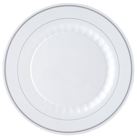 - BalsaCircle 12 pcs Disposable Plastic Plates with Trim for Wedding Reception Party Buffet Catering Tableware