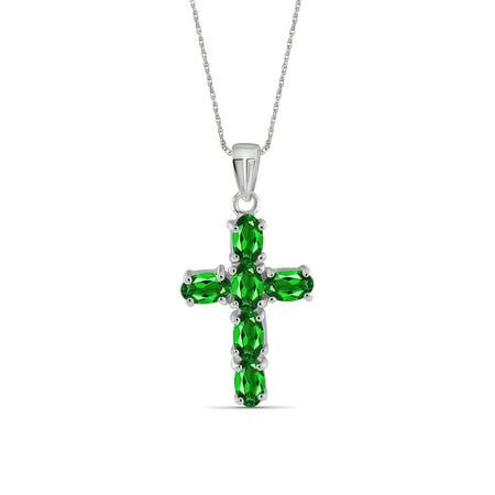 Gem Cross Charm (JewelersClub 1.38 Carat Chrome Diopside Gemstone Cross Pendant )