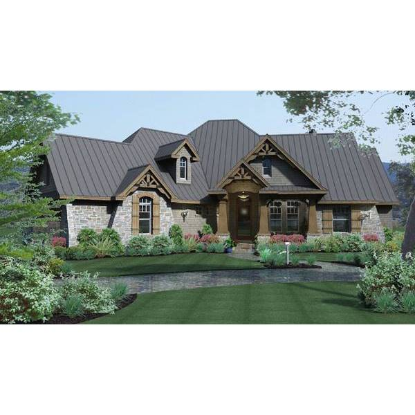 TheHouseDesigners-2297 Spacious European Cottage House Plan with Slab Foundation (5 Printed Sets)