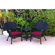 """Set of Windsor Black Wicker Chair and End Table With Red Chair Cushion 35.5"""""""