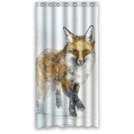 HelloDecor Cheap Fox in Snow Shower Curtain Polyester Fabric Bathroom Decorative Curtain Size 36x72 Inches (Cheap Showers)