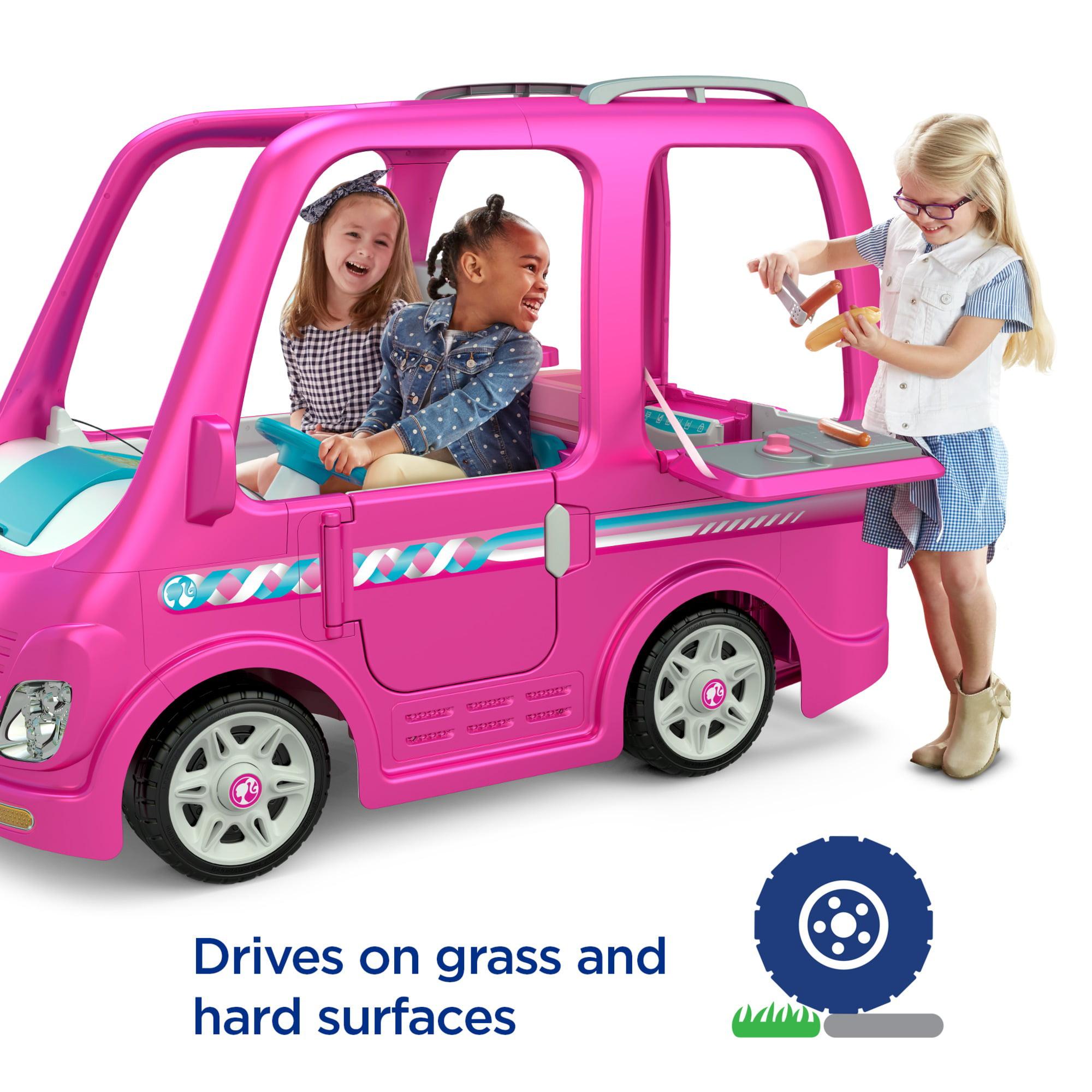 Power Wheels Barbie Dream Camper Battery Powered Ride On Vehicle Walmart Com Walmart Com