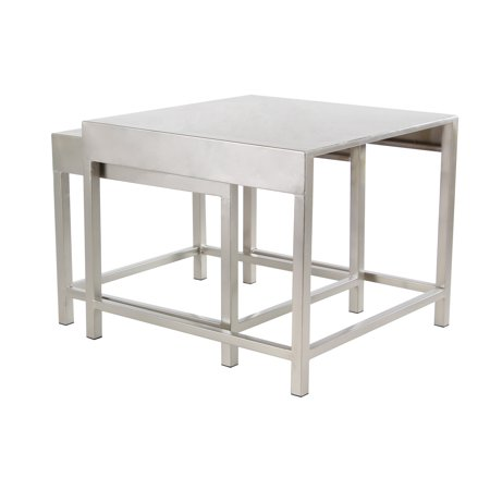 Decmode Contemporary 16 And 18 Inch Silver Coffee Tables Set Of 2