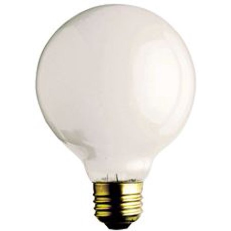 Satco Incandescent Decorative Lamp G16 1/2, 40 Watt, 130 Volt, Candelabra Base, Clear, 2500 Average Rated Hours, 25 Per Box