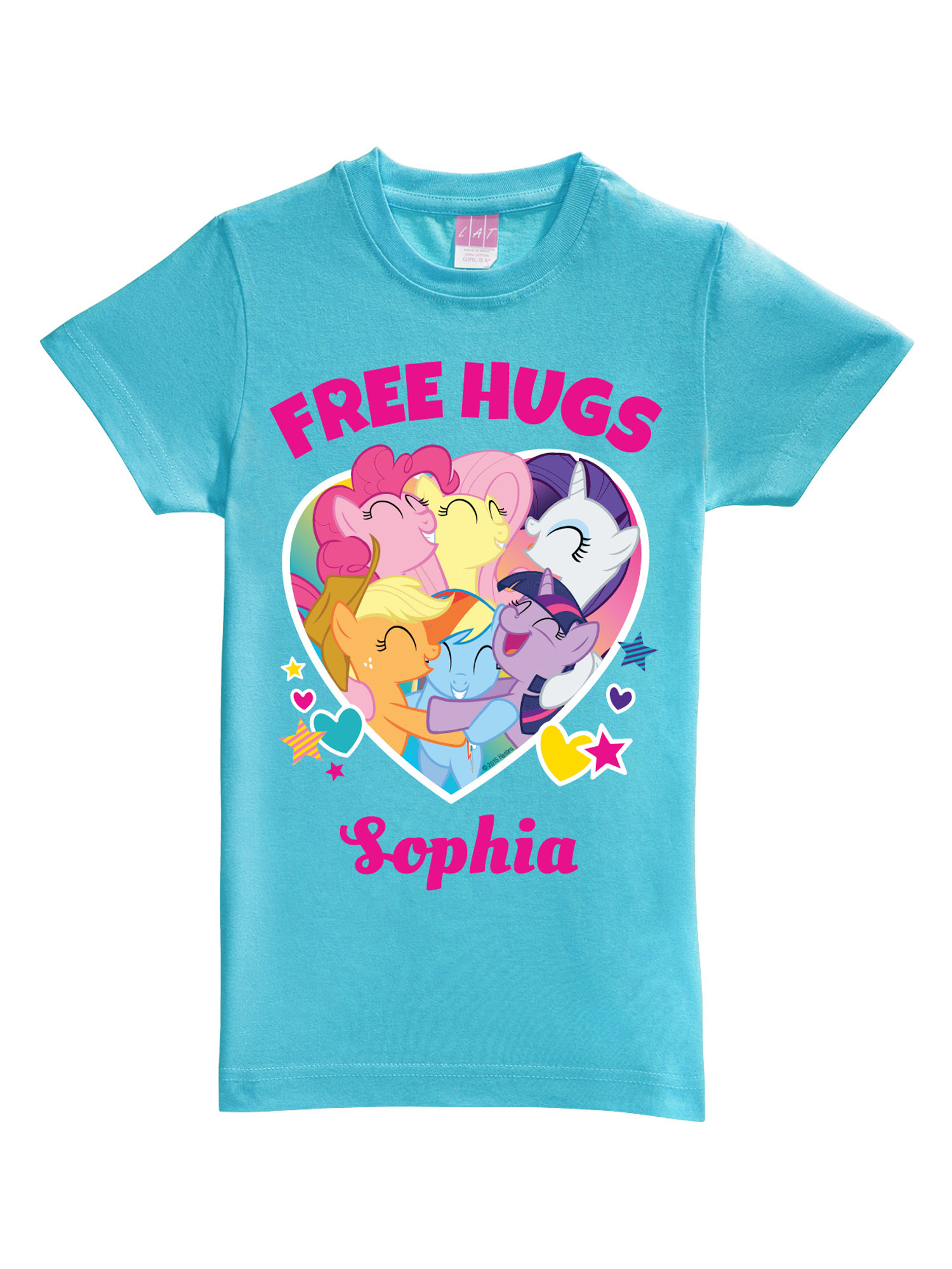 Personalized My Little Pony Free Hugs Aqua Toddler Girls' Fitted T-Shirt