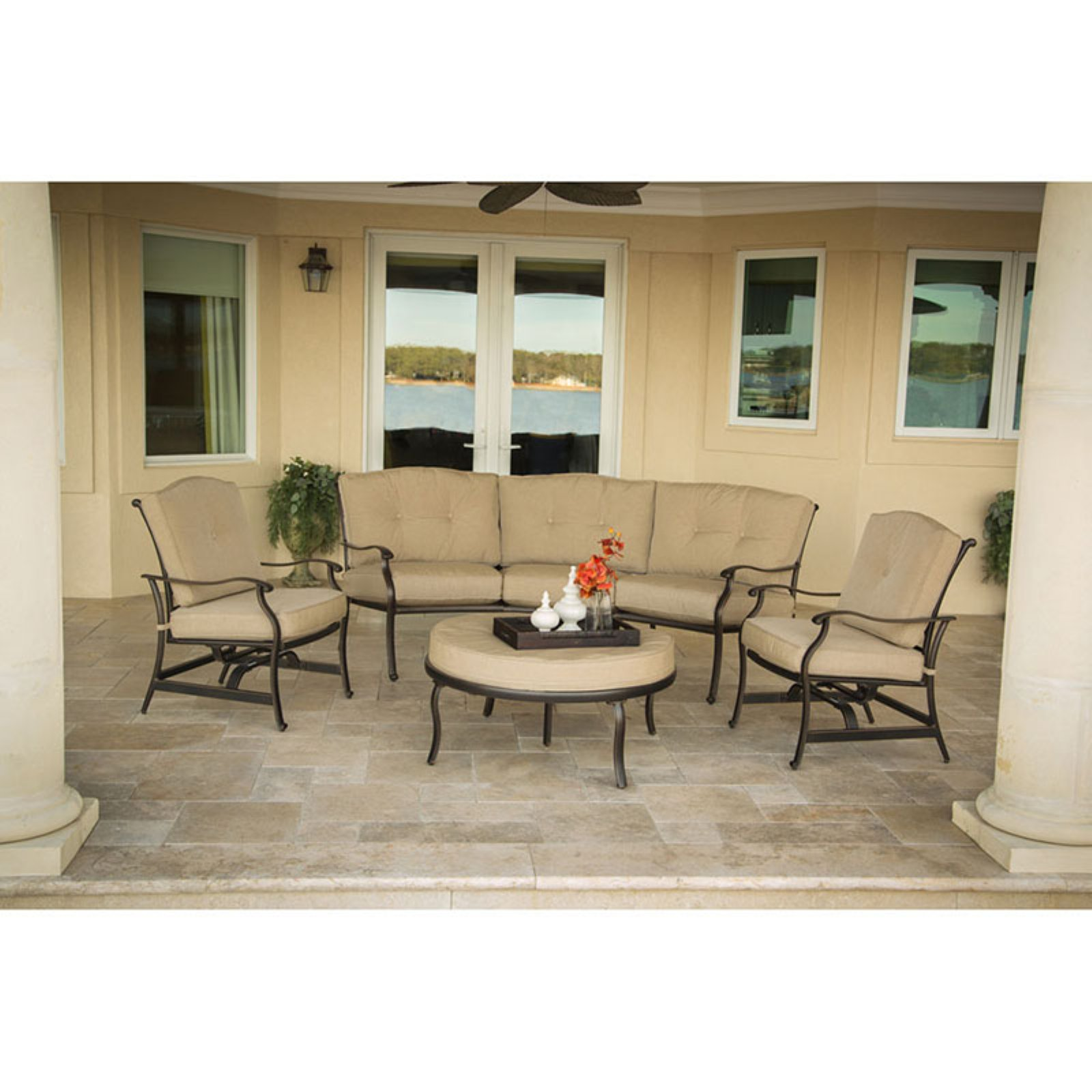 Hanover Outdoor Traditions 4-Piece Patio Set, Natural Oat