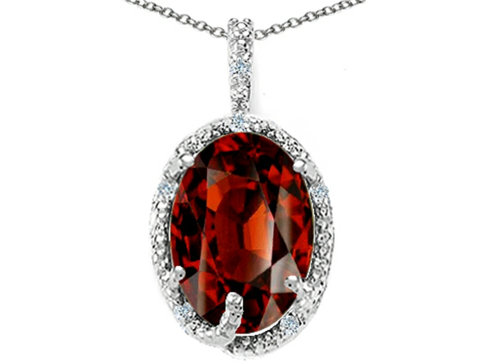 Tommaso Design Oval 10x8mm Genuine Garnet Pendant Necklace by