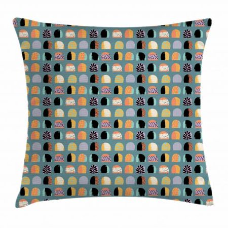 Abstract Throw Pillow Cushion Cover, Colorful Hand Drawn Oval Shapes with Different Patterns Leaves Stripes and Dots, Decorative Square Accent Pillow Case, 18 X 18 Inches, Multicolor, by Ambesonne (Hand Drawn Shoes)