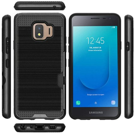 For Samsung Galaxy J2 (2019) Case, by Insten Brushed Hard Plastic/Soft TPU Rubber with ID/Credit Card Slot Case Cover For Samsung Galaxy J2 (2019), (Best Black Credit Cards 2019)